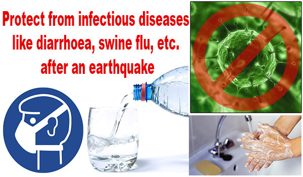 How to protect yourself from infectious diseases like diarrhoea, swine flu, etc. after an earthquake